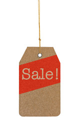 Paper tag with the text Sale isolated on white background