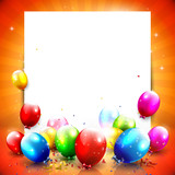 Colorful birthday background with empty paper nad balloons