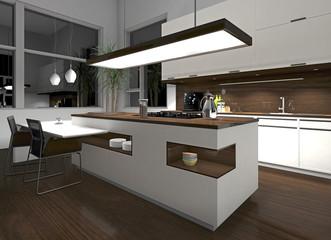 Weiße Küche mit Holzelementen am Abend