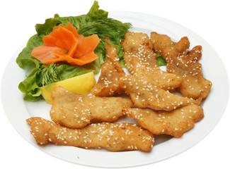 Grilled Fish Fillets with on BBQ with salad. Fried fish pieces.