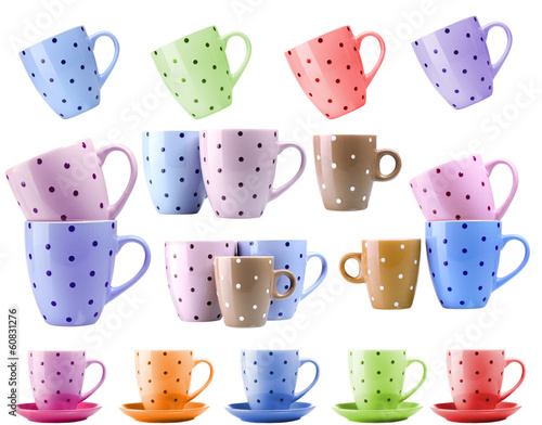 Colorful cups isolated on white