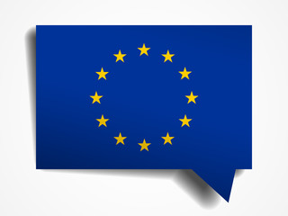 European Union flag paper 3d realistic speech bubble