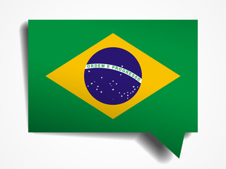 Brazil flag paper 3d realistic speech bubble
