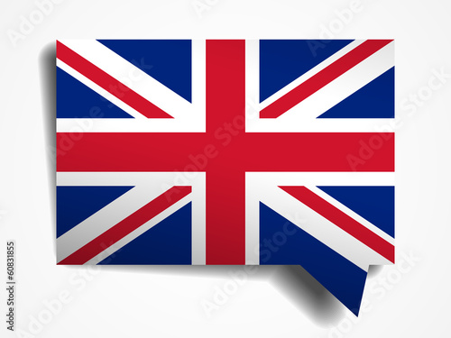 United Kingdom flag paper 3d realistic speech bubble