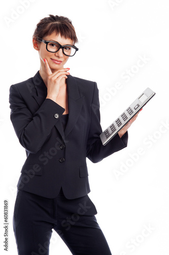 Geek Girl With Big Calculator