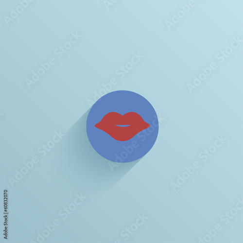 Vector flat circle icon on blue background. Eps10