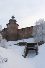 Kremlin wall and Tower Chasovaya at Nizhny Novgorod in winter. R