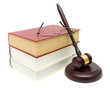 gavel, books and glasses closeup isolated on white background