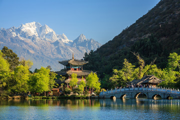 Lijiang old town scene-Black Dragon Pool Park