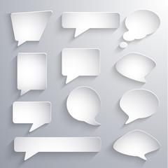 Set of paper 3d speech bubbles