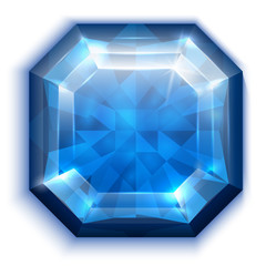 Asscher cut blue diamond icon