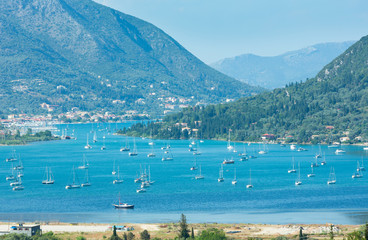 Many sailing vessels in bay (Nydri, Lefkada, Greece)