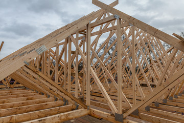 Wood house truss