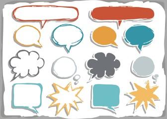 puste kolorowe dymki rozmów na białym tle zestaw  kształtów