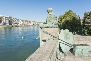 Basel, Altstadt, Rhein, Helvetia, Ufer, Kunst, Schweiz