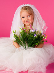 Lovely bride with bouquet