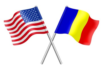 Flags: the United States and Romania