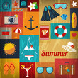 summer retro flat background