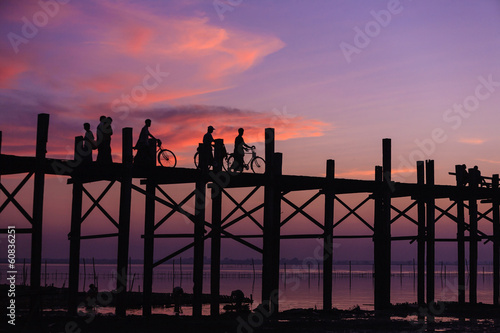 U bein bridge at sunset Amarapura ,Mandalay, Myanmar.