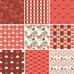 Vintage Romantic Seamless Pattern Set