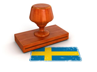 Rubber Stamp Swedish flag (clipping path included)