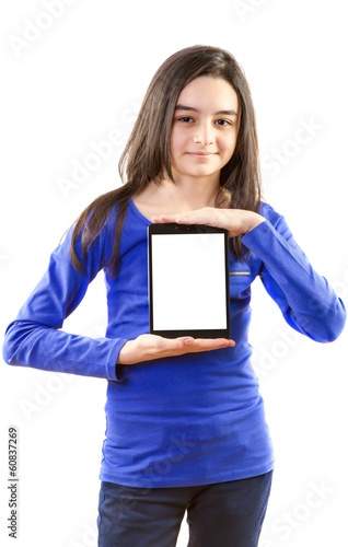 Happy teen girl with digital tablet  on white background