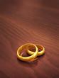 Engraved golden wedding rings , copyspace
