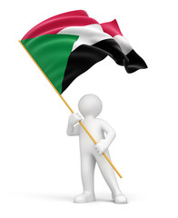 Man and Sudan flag (clipping path included)