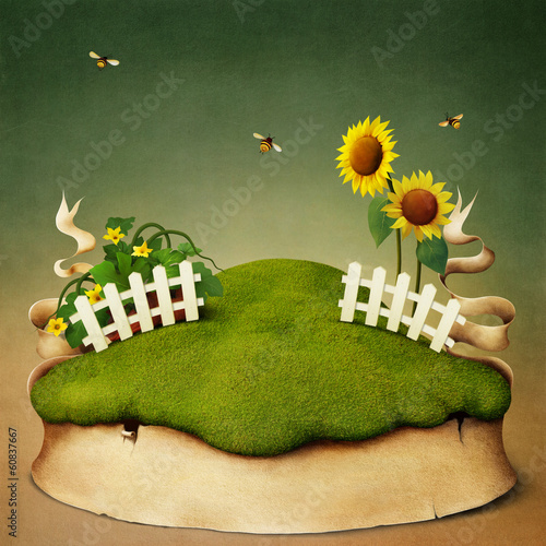 Poster or illustration meadow of sunflowers