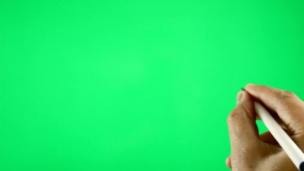 man filling with chroma key