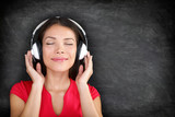 Music in headphones - Beautiful woman listening