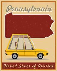 Pennsylvania road trip vintage poster