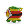 Piggy bank with flag painting over it - Zimbabwe