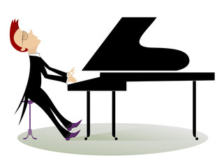 Pianist is playing music with inspiration