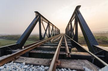 Bridge railway in the morning
