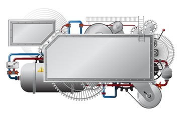 banner machine grau