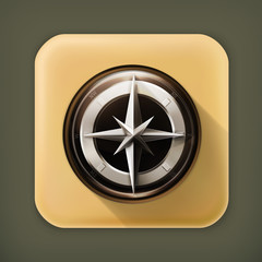 Compass, long shadow vector icon