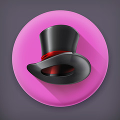 Cylinder hat, long shadow vector icon