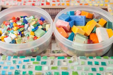 Colorful mosaic puzzles closeup