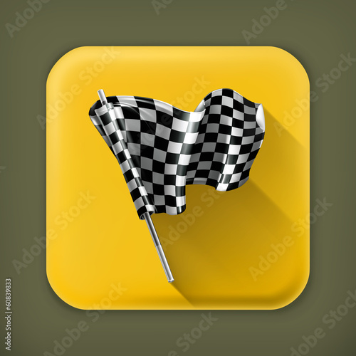 Checkered flag, long shadow vector icon