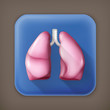 Human lungs, long shadow vector icon