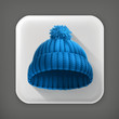 Knitted blue cap, long shadow vector icon