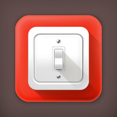 Light switch, long shadow vector icon