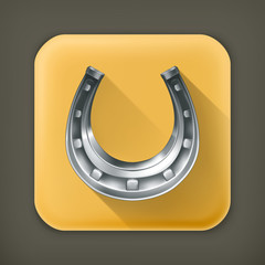 Lucky horseshoe, long shadow vector icon