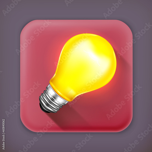 Light bulb, long shadow vector icon