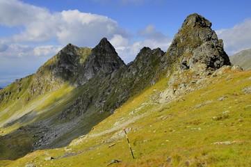 Alpine crest against blue sky