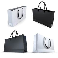 set of white and black bags