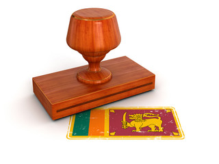 Rubber Stamp Sri Lanka flag (clipping path included)