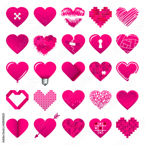 25 Pink Hearts