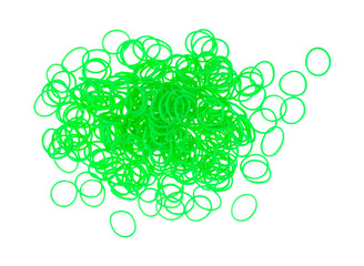 Small neon green plastic loom loops
